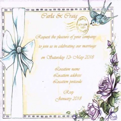 Vintage Bow Wedding Invitation